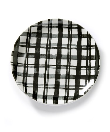 BlackWhitePlaidPlate