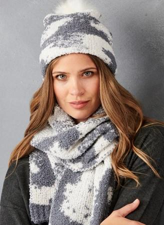 SuededYarnSpaceDyedHatandScarf