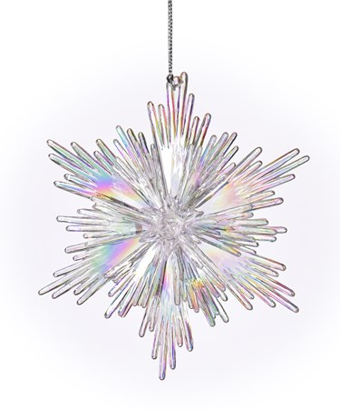 ClearIridescentSnowflakeOrnament