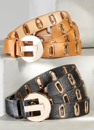 GrommetlinedbeltwithClassicBuckle2Asst
