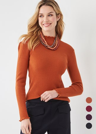 FlirtyRuffledNeckSweater4Asst
