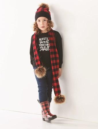 ToddlerUnisexBuffalocheckHatandScarf