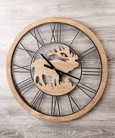 WoodMetalMooseWallClock