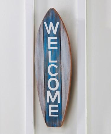 WelcomeSurfBoardWallPlaque