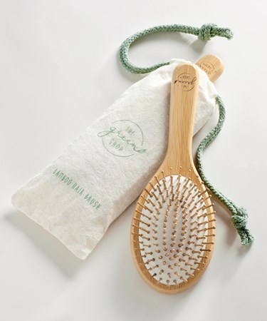BambooHairBrushwPouch