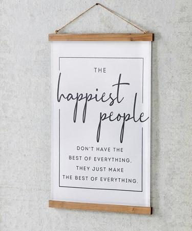 HappiestPeopleSentimentFabricWallHanging