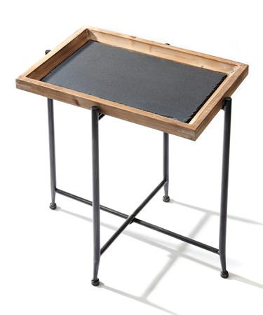WoodSlateAccentTable