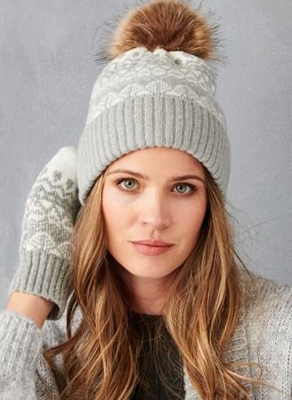 WinterHatMittenSetinaBlendedYarn