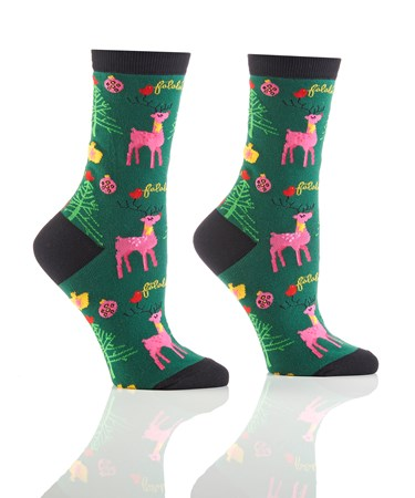 WomensHolidayCrewSockSeasonGreetings