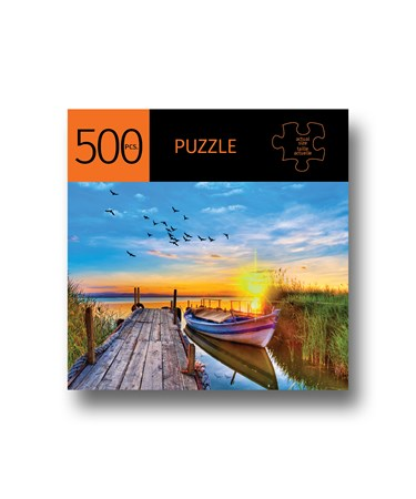 DockedBoatwSunsetDesignPuzzle500Pieces