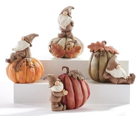 CarvedGnomeandPumpkinFigurine4Asst