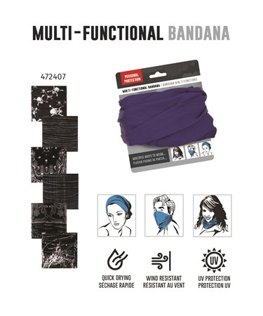 BlackGreyPrintMultiFunctionalBandana6Asst