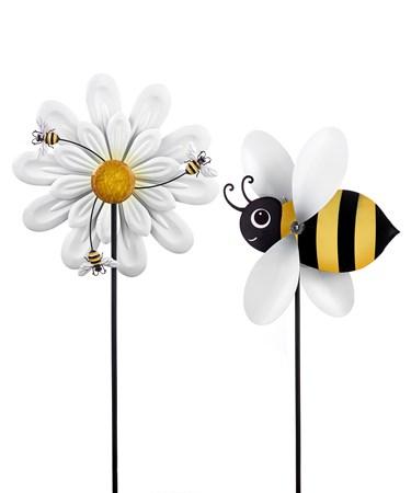 BeeSpinnerGardenStake2Asst