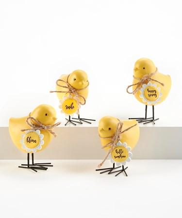 ChickFigurinewMetalFeetandSentiment4Asst