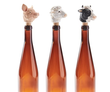 FarmAnimalWineBottleStoppers3AsstwDisplayer
