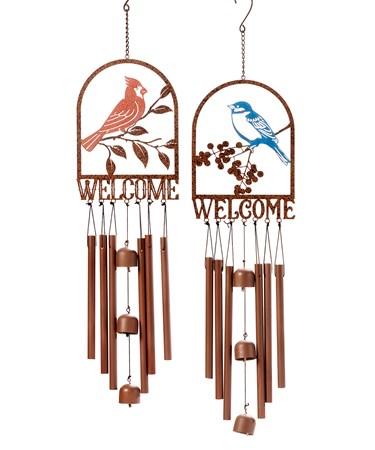 BirdWelcomeWindChimes4Asst