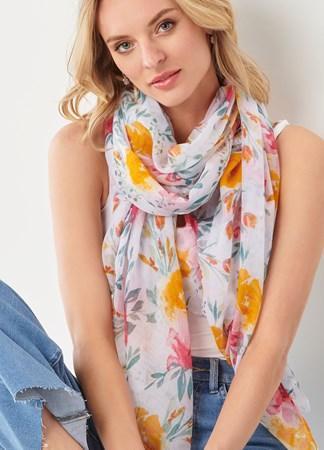 VictorianGardenLargeFloralPrintScarf