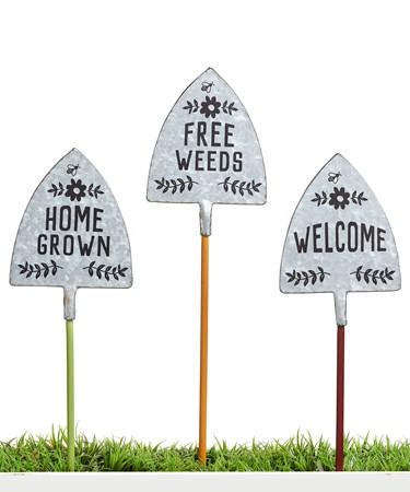 GardenStakeShovelSentimentSign3Asst