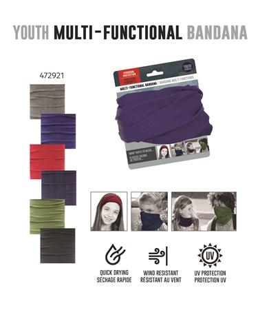 YouthSolidColorMultiFunctionalBandana6Asst