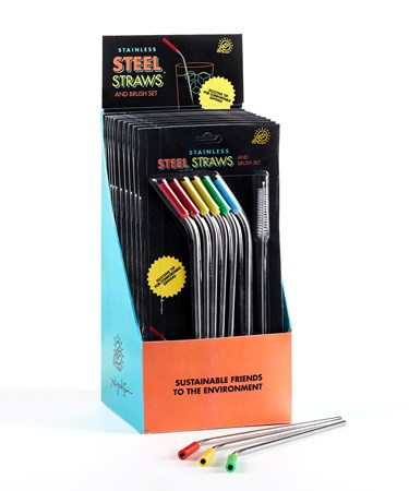 ReusableStainlessSteelStrawSetof7wDisplayer
