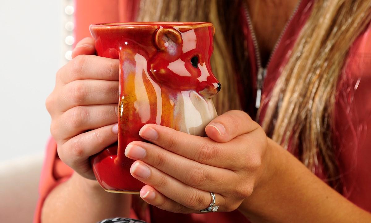 Right-Handed Ceramic Animal Design Hand Warmer Mug, 5/Asst.