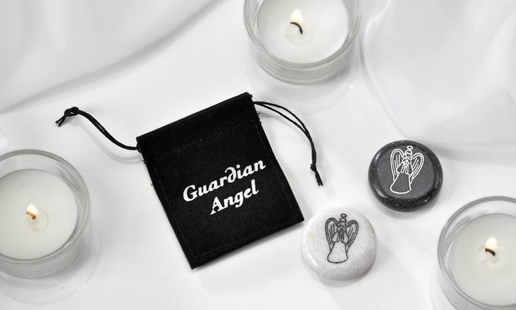 Marble Guardian Angel Bead w/ Pouch Asst. w/ Displayer