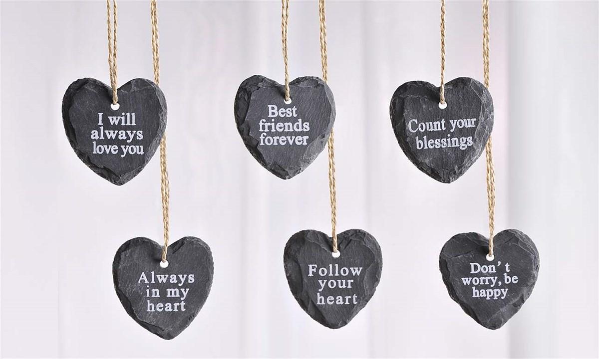 Slate Heart Design Ornament Asst. w/ Displayer