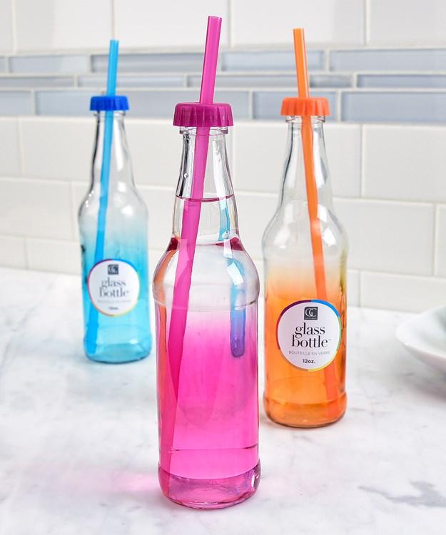 Glass Water Bottle w/Straw, 3 Asst.