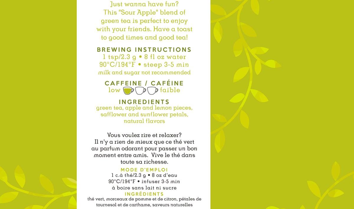 For Tea's Sake, Sour Apple Martini Tea Blend (2.7oz/75g)