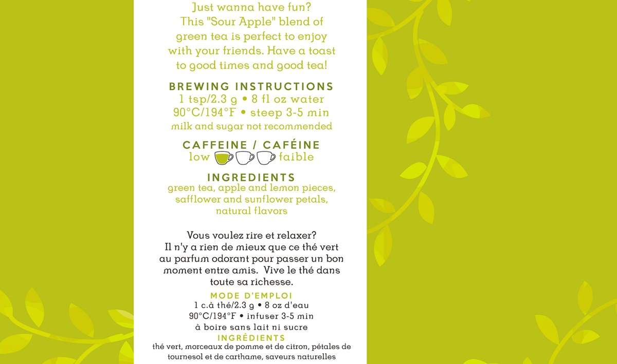 For Tea's Sake, Sour Apple Martini Tea Blend (1oz/30g)