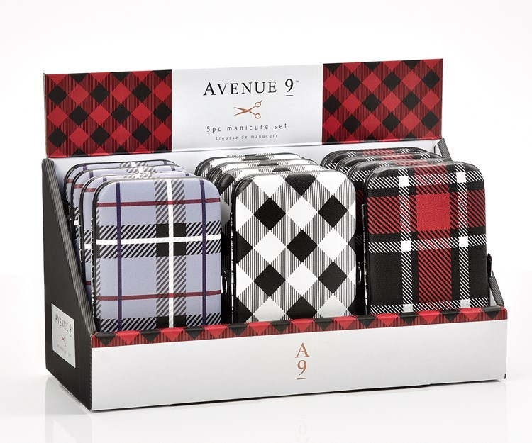 Avenue 9 Glam, Manicure Sets in Plaid Case, 3 Asst. w/Displayer