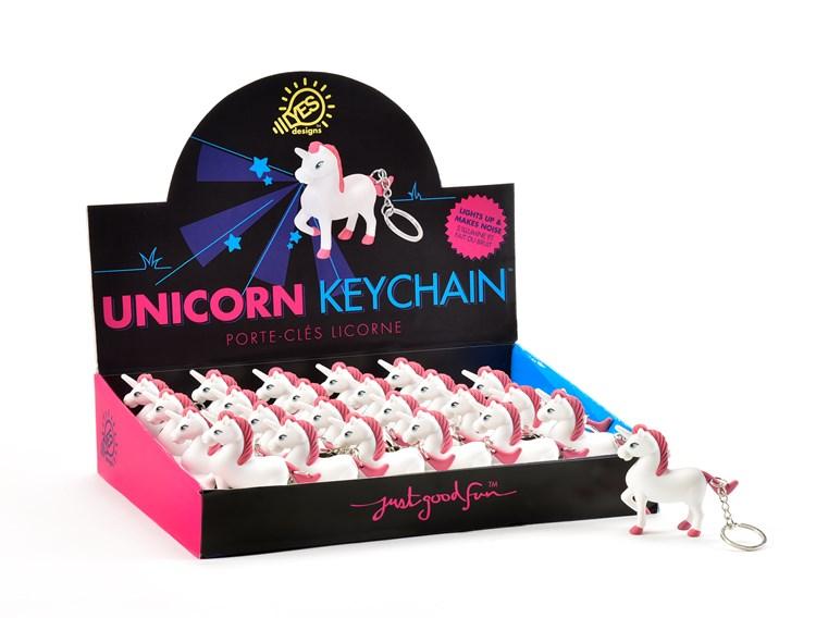Light-Up/Audio Unicorn Design Keychain w/Displayer