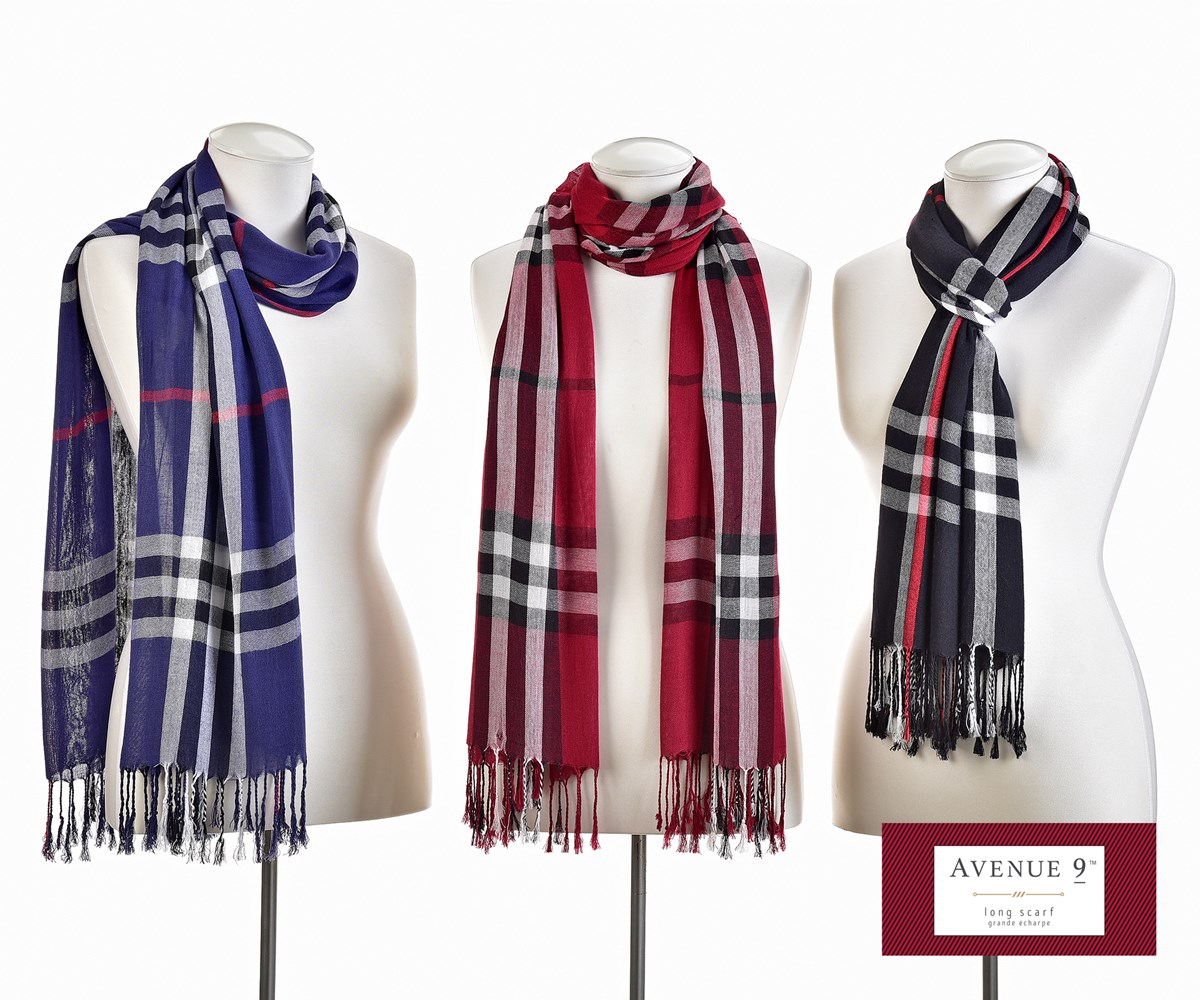 Avenue 9 Glam, Plaid Scarf, 3 Asst.