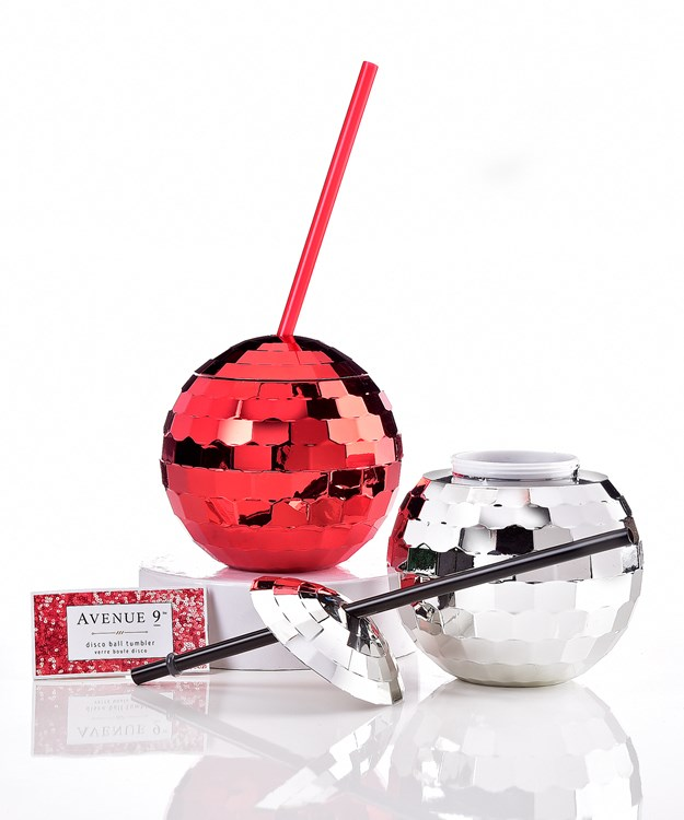 Avenue 9 Glam, Disco Ball Tumbler w/ Straw, 2 Asst. & Displayer
