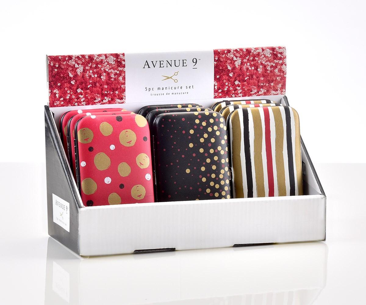Avenue 9  Glam, 5pc Manicure Set in Case, 12pcs, 3/Asst. &  Displayer