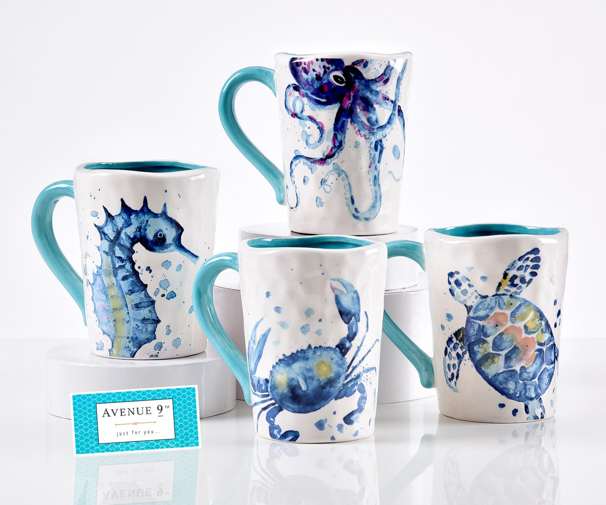 Avenue 9 Blue Lagoon, Ceramic Sealife Design Mug, 4/Asst.