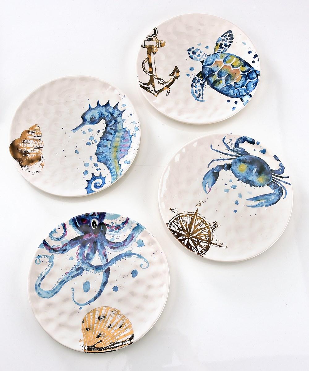 Avenue 9 Blue Lagoon, 8.5in-D Ceramic Sealife Design Plate, 4/Asst.