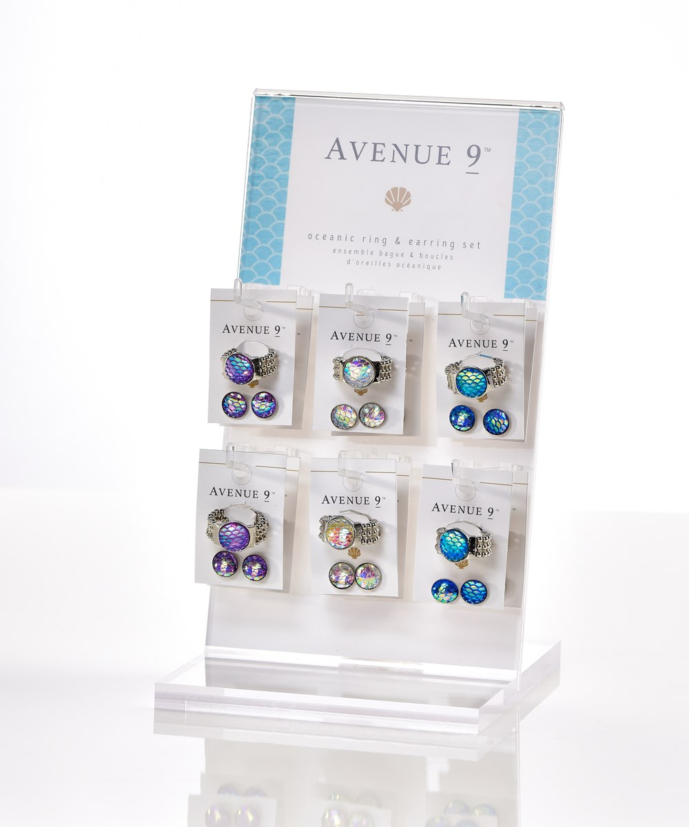 Avenue 9 Blue Lagoon, Mermaid Ring & Earrings 2pc. Set Asst. w/ Displayer