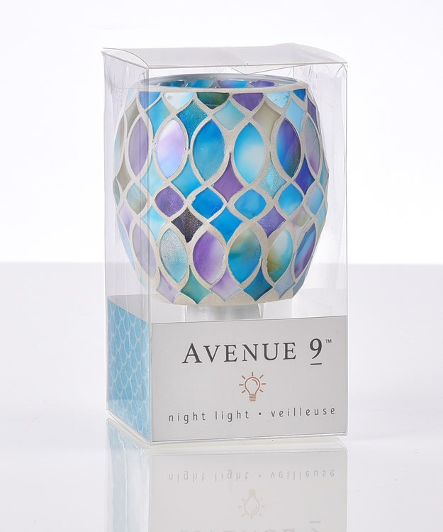 Avenue 9 Blue Lagoon, Mosaic Glass Night Light, 5/Asst.
