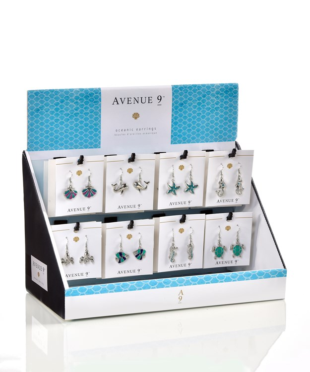 Avenue 9 Blue Lagoon, Ocean Icons Design Earrings Asst. w/ Displayer