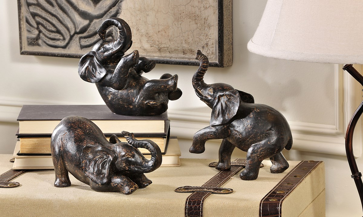Elephant Polystone Figurines, 3 Assorted Designs
