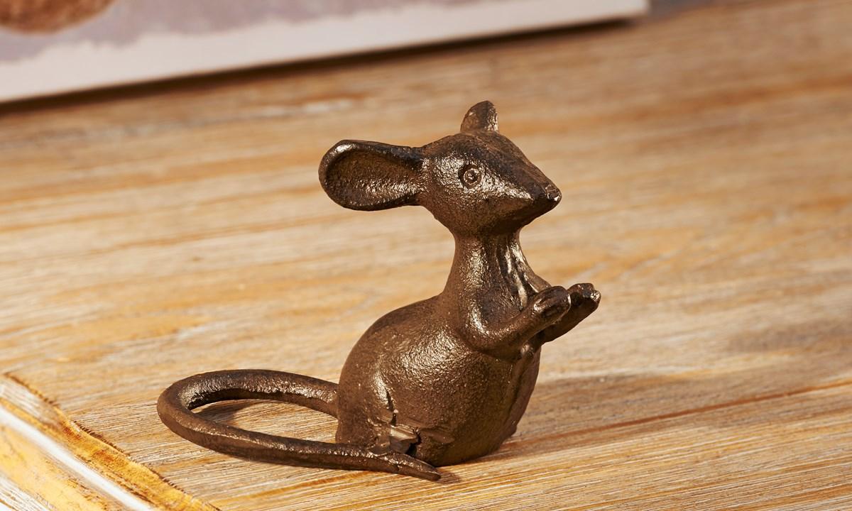 Cast Iron Sitting Mouse Figurine