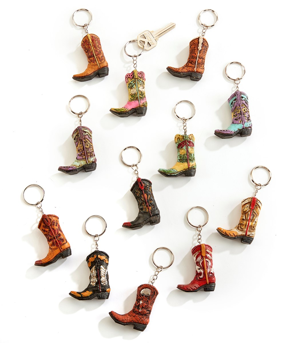 Cowboy Boot Keychains, 12 Assorted Designs