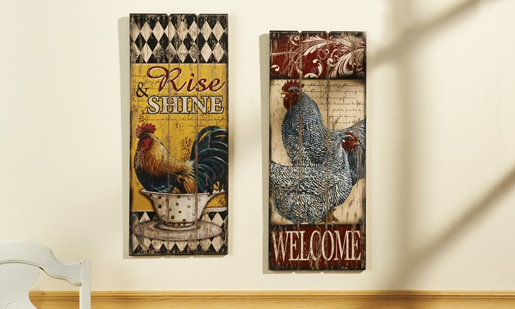 Rustic Rooster Wall Plaques 2 Assorted Designs
