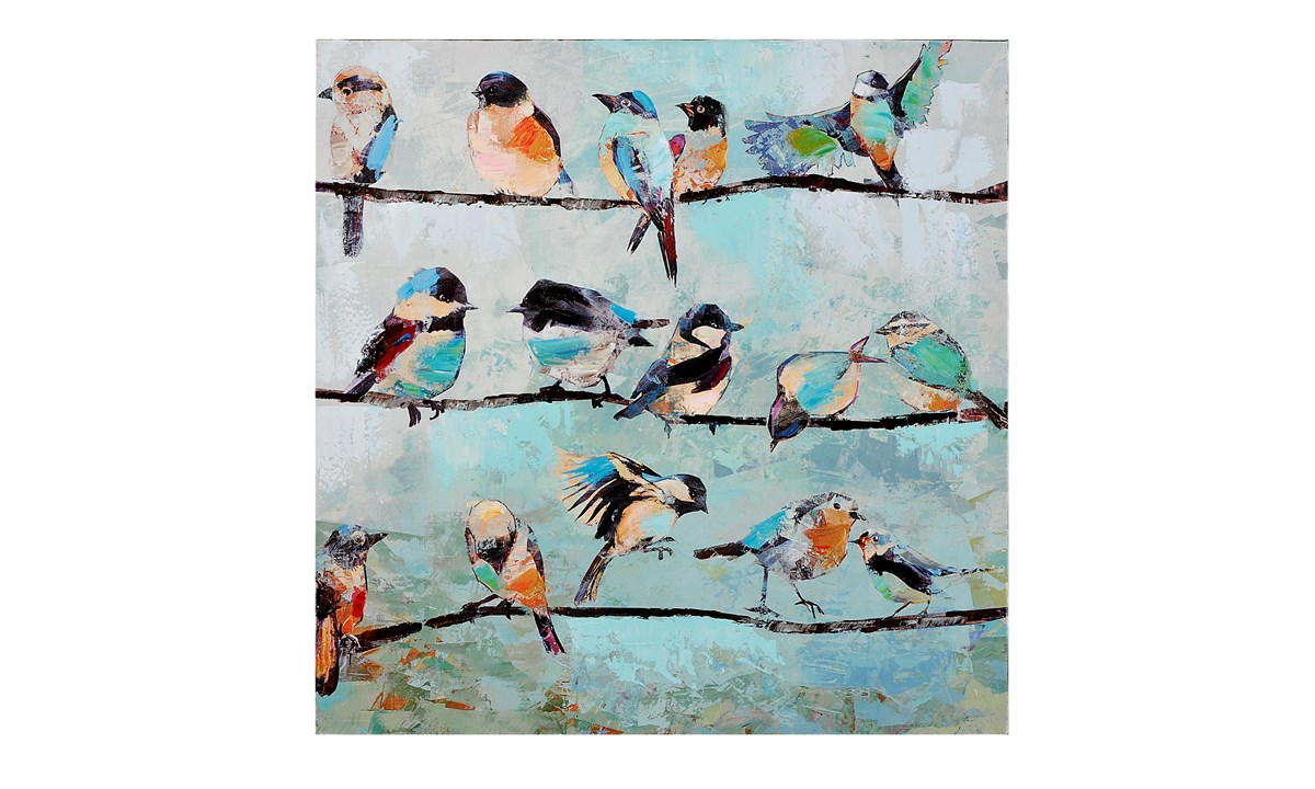 Birds on a Branch Canvas Oil Painting, 23.6 x 23.6