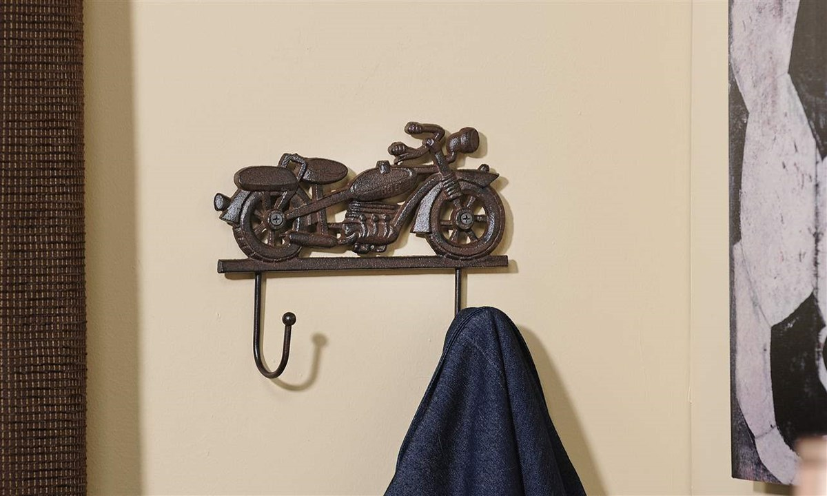 Vintage Motorcycle Cast Iron 2-Hook Wall Hook