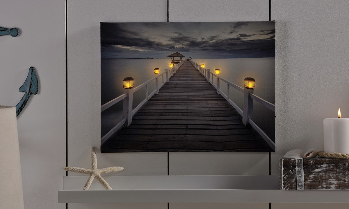 LED Lighted Dock Design Canvas Wall Decor