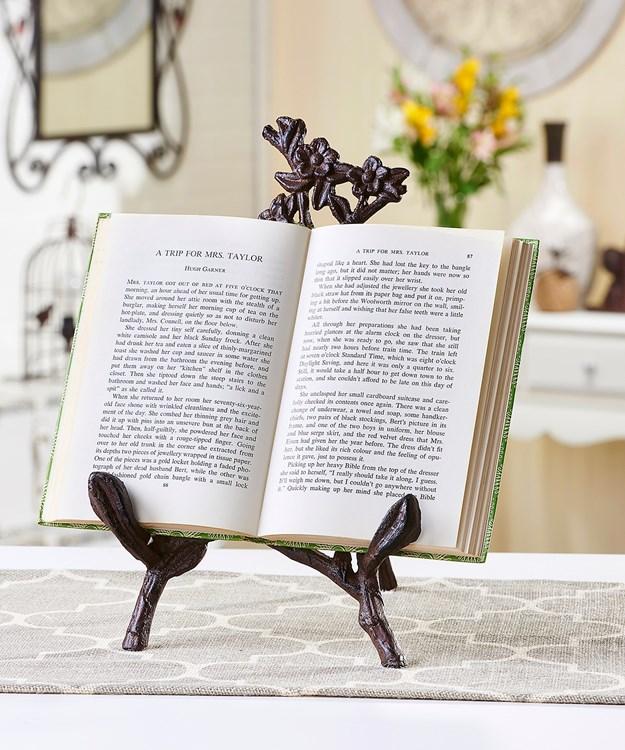 Cast Iron Flower & Vine Design Book Stand