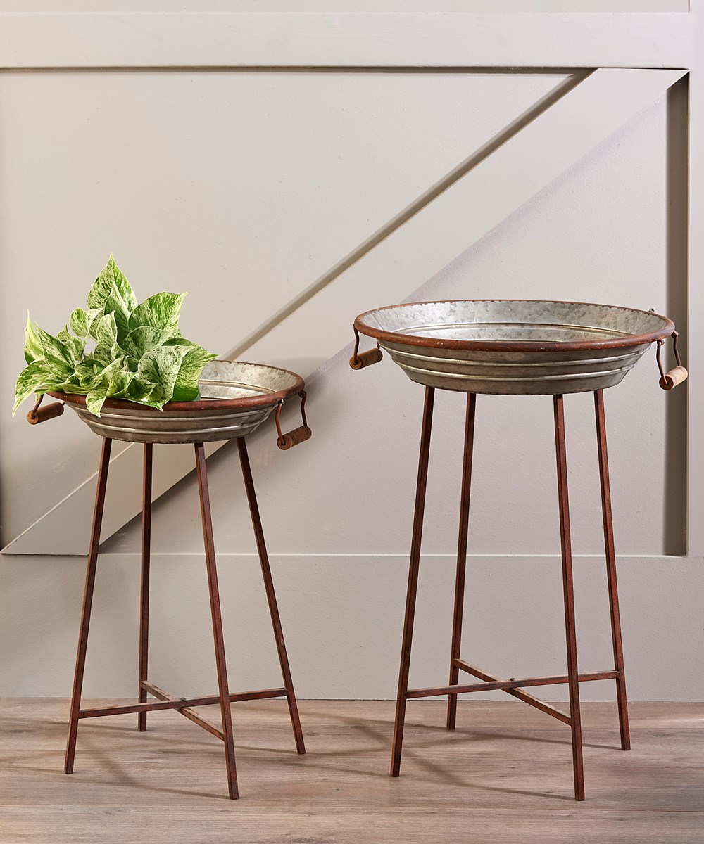 2/Set Galvanized Metal Side Tables