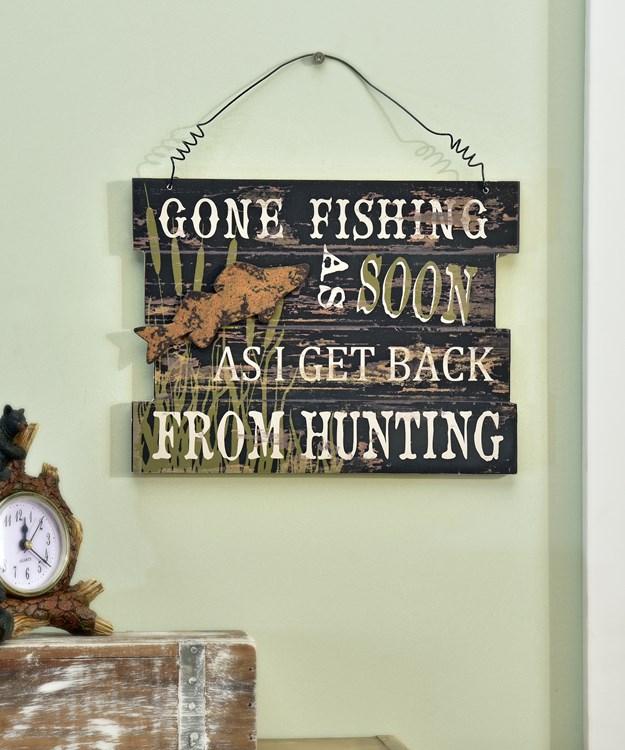 MDF Fishing Sentiment Design Wall Plaque